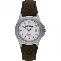 Timex Expedition White Dial Brown Leather Strap Ladies Watch T44563