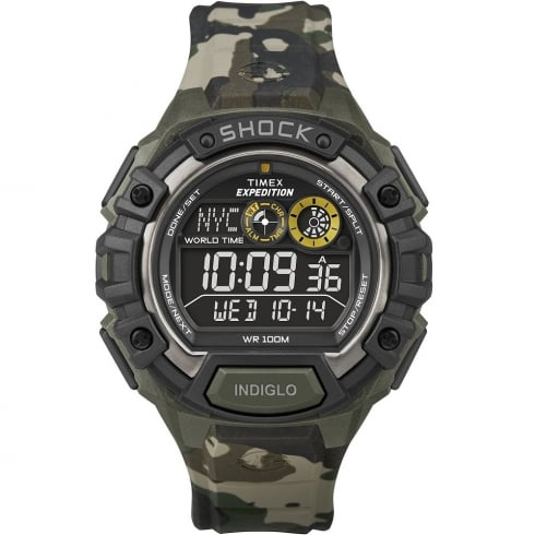 Timex Expedition World Time Digital Chronograph Camouflage Resin Strap Gents Watch T49971