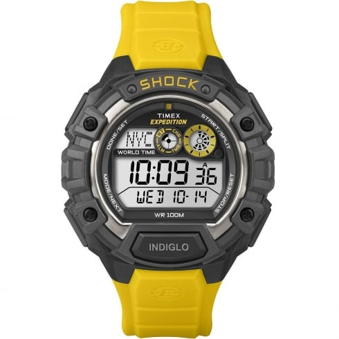 Timex Expedition World Time Digital Chronograph Yellow Resin Strap Gents Watch T49974