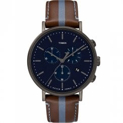 Timex Fairfield Chronograph Blue Dial Brown Leather Strap Gents Watch TW2R37700