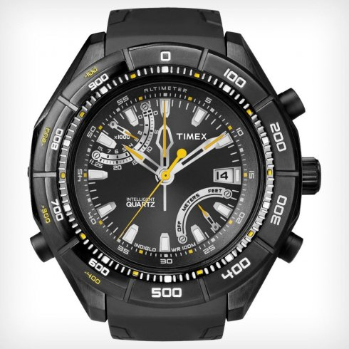 Timex Intelligent Quartz Adventurer black dial resin strap Mens watch T2N729
