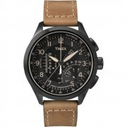 Timex Intelligent Quartz black dial chronograph leather strap Mens watch T2P277
