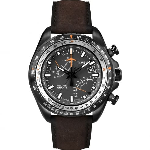 Timex IQ Aviator Chronograph Brown Leather Strap Gents Watch T2P102