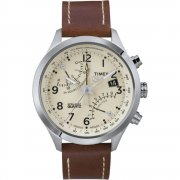 Timex IQ Chronograph Beige Dial Brown Leather Strap Mens Watch T2N932