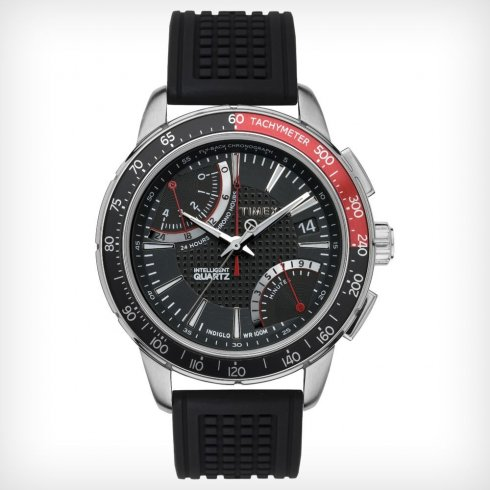 Timex IQ Chronograph Black Dial Black Rubber Strap Mens Watch T2N705
