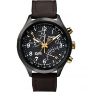 Timex IQ Chronograph Black Dial Brown Leather Strap Gents Watch T2N931
