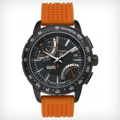 Timex IQ Chronograph Black Dial Orange Rubber Strap Mens Watch T2N707