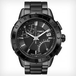 Timex IQ Chronograph Black Dial Stainless Steel Bracelet Mens Watch T2N500