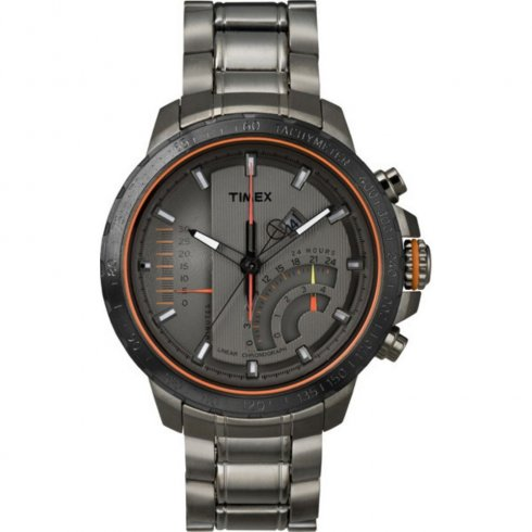 Timex IQ Chronograph Grey Dial Gun Metal Bracelet Mens Watch T2P273