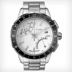 Timex IQ Chronograph White Dial Stainless Steel Bracelet Mens Watch T2N499