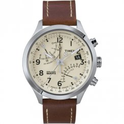 Timex IQ Fly Back Chronograph Beige Dial Brown Leather Strap T2N932