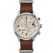 Timex IQ Fly Back Chronograph Beige Dial Brown Leather Strap TW2R55100