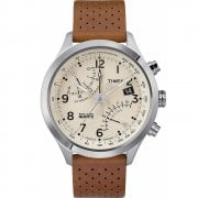 Timex IQ Fly Back Chronograph Beige Dial Caramel Leather Strap TW2R55300