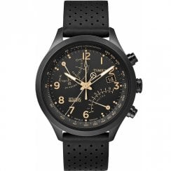 Timex IQ Fly Back Chronograph Black Dial Black Leather Strap TW2R54900