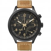 Timex IQ Fly Back Chronograph Black Dial Tan Leather Strap Mens Watch T2N700