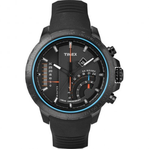 Timex IQ Linear Chronograph Black Dial Rubber Strap Mens Watch T2P272