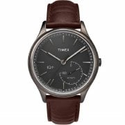 Timex IQ + Move Smartwatch Grey Dial Brown leather Strap Gents Watch TW2P94800