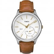 Timex IQ + Move Smartwatch White Dial Tan leather Strap Gents Watch TW2P94700
