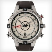 Timex IQ Tide Temp Compass Beige Dial Brown Leather Strap Gents Watch T2N721