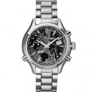 Timex IQ World Timer Chronograph Stainless Steel Bracelet Gents Watch T2N944