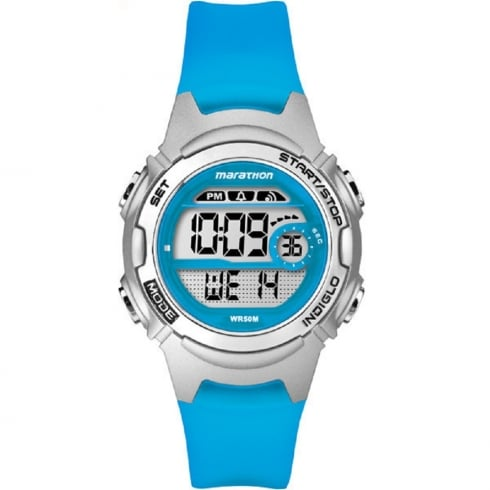 Timex Marathon Digital Alarm Chronograph Blue Resin Strap Ladies Watch TW5K96900