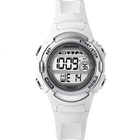 Timex Marathon Digital Alarm Chronograph White Resin Strap Ladies Watch TW5M15100
