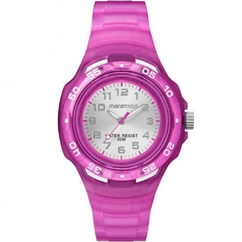 Timex Marathon Silver Dial Purple Resin Strap Kids Watch TW5M06600