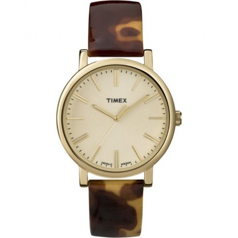 Timex Originals champagne dial leather strap Ladies watch T2P237