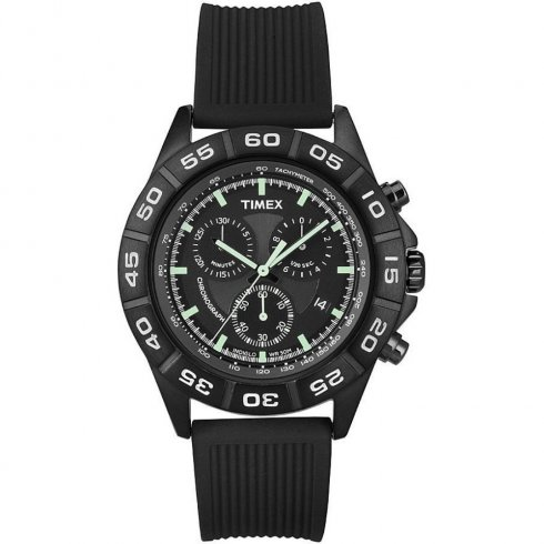 Timex Originals Chronograph Black Dial Rubber Strap Gents Watch T2N886