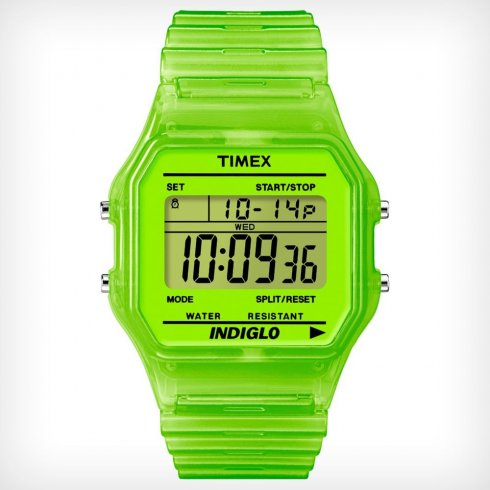 Timex Originals Digital Chronograph Green Resin Strap Unisex Watch T2N806