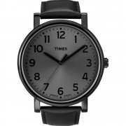 Timex Originals Gunmetal Dial Grey Leather Strap Mens Watch T2N346