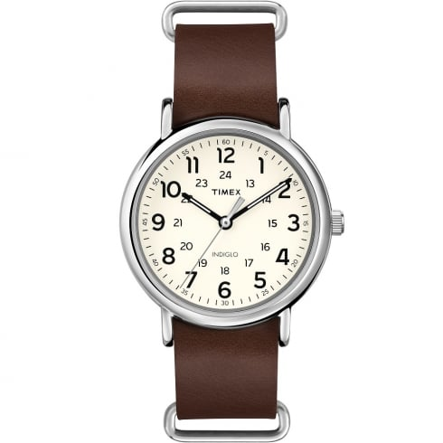 Timex Originals Weekender Cream Dial Brown Leather Strap Gents Watch T2P495