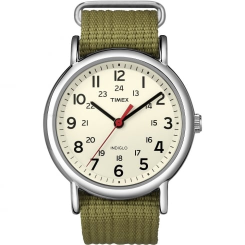 Timex Originals Weekender Cream Dial Olive Green Strap Gents Watch T2N651