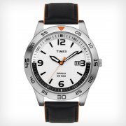 Timex Originals White Dial Black Leather Strap Gents Watch T2N695