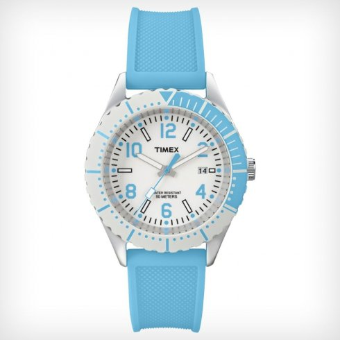 Timex Originals White Dial Blue Resin Strap Ladies Watch T2P006