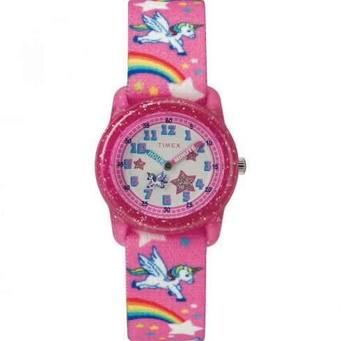 Timex Time Machine Unicorn Rainbow Pink Fabric Strap Kids Watch TW7C25500