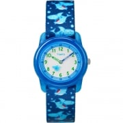 Timex Time Teacher Blue Sea Life Elastic Fabric Strap Kids Watch TW7C13500