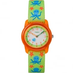 Timex Time Teacher Green Octopus Sea Life Elastic Fabric Strap Kids Watch TW7C13400