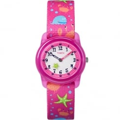 Timex Time Teacher Pink Sea Life Elastic Fabric Strap Kids Watch TW7C13600
