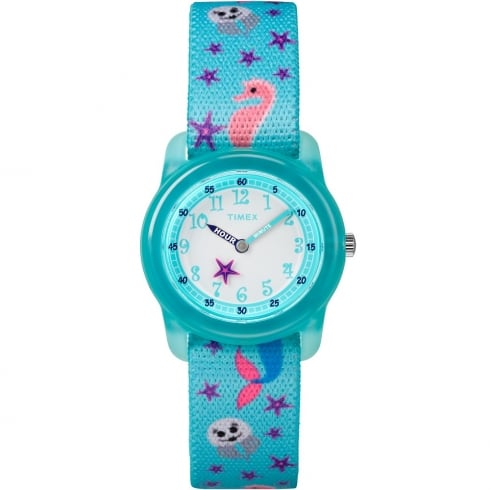 Timex Time Teacher Sea Life Turquoise Elastic Fabric Strap Kids Watch TW7C13700