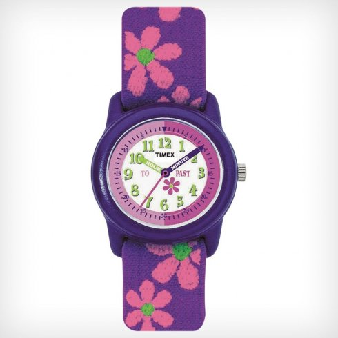 Timex Time Teacher White Dial Floral Fabric Strap Kids Watch T89022