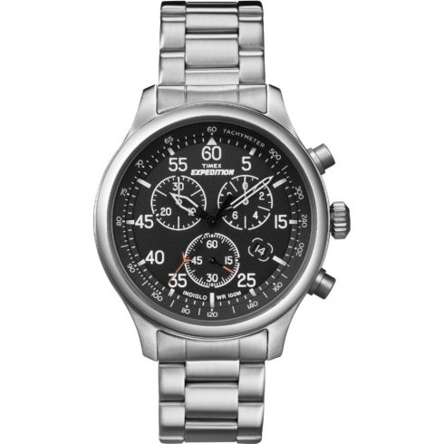 Timex Expedition Black Dial Chronograph Chrome Stainless