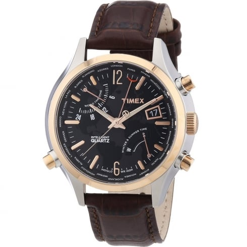 Timex IQ World Time Black Dial Brown Strap Gents Watch T2N942