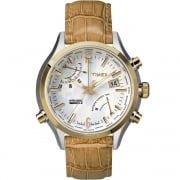 Timex IQ World Time White Dial Tan Strap Gents Watch TW2P87900