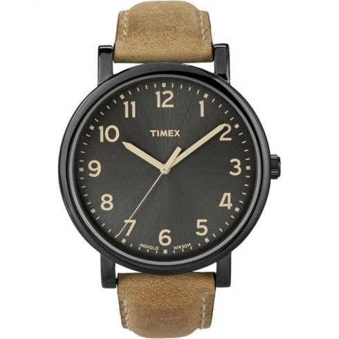 Timex Originals Black Dial Tan Leather Strap Mens Watch T2N677