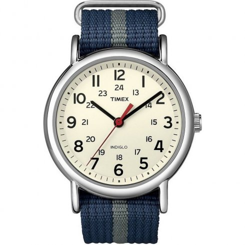 Timex Weekender Cream Dial Blue Nylon Strap Mens Watch T2N654