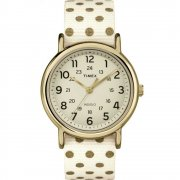 Timex Weekender Cream Dial Gold Polka Dots Nylon Strap Ladies Watch TW2P66100