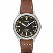 Timex Waterbury Black Dial Brown Leather Strap Gents Watch TW2P84600