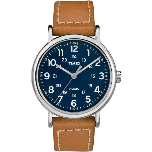Timex Weekender Blue Dial Tan Leather Strap Gents Watch TW2R42500
