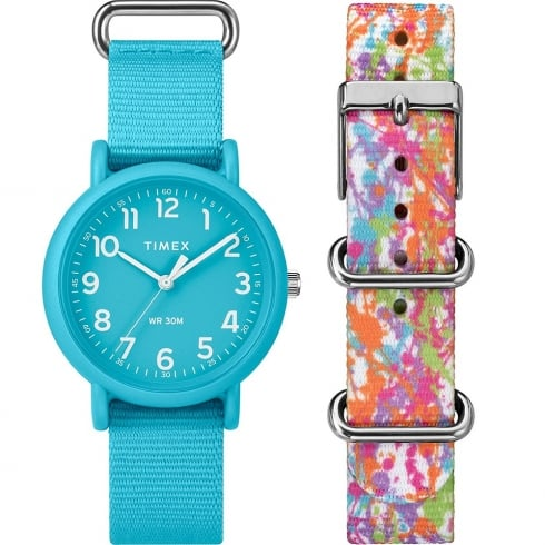 Timex Weekender Color Rush Blue Dial Box Set Ladies Watch TWG018300